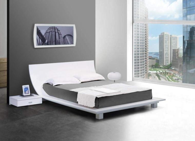 dormitorio gris cama blanca