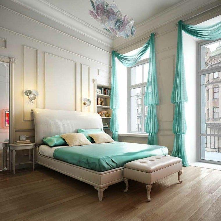 dormitorio estilo retro vintage aguamarina