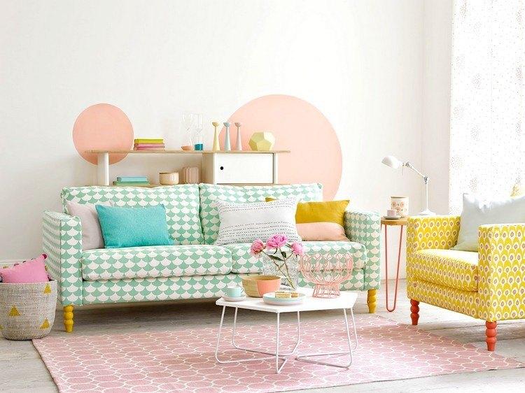 pared dos circulos color rosa