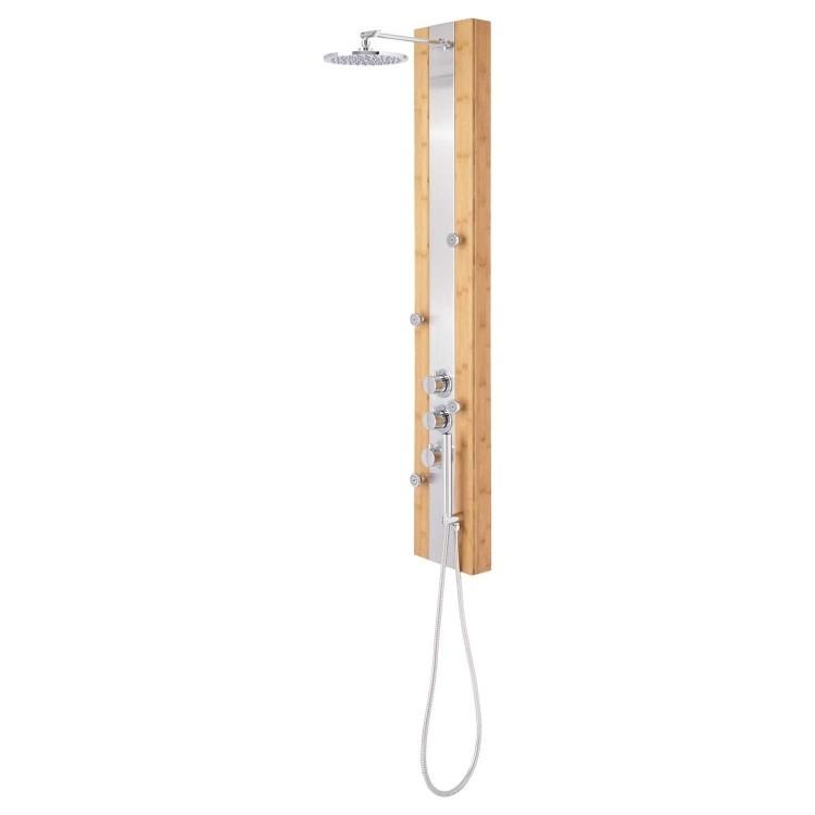 ducha madera estilo cuerdas diseño metales