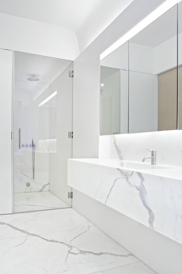 elegante alto luminoso baño espejo