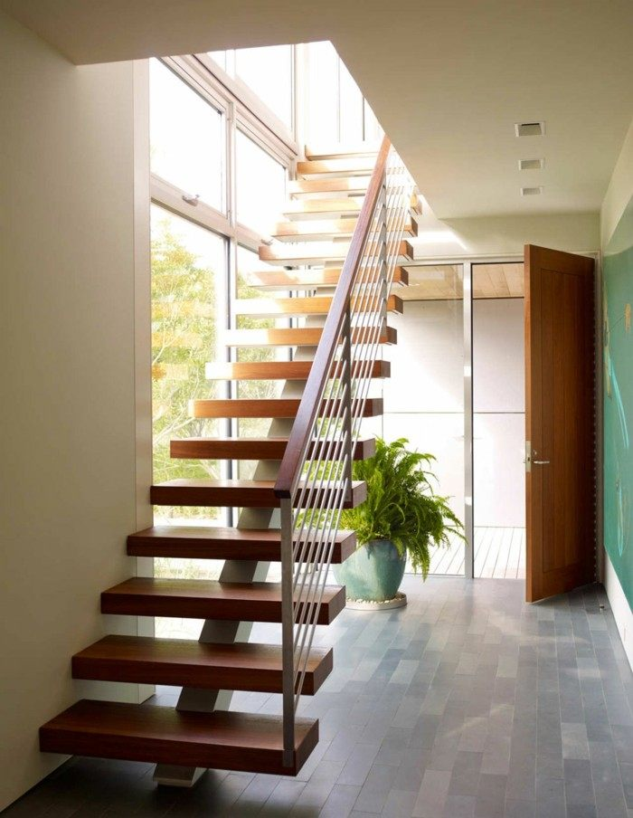 Escaleras de madera aluminio cristal 101 ideas for Grada escalera