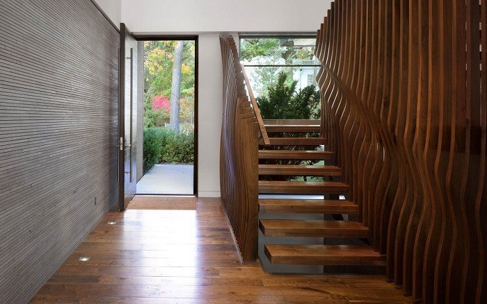 escalera estilo contemporaneo casa laminas madera ideas