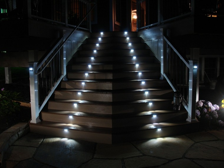 escaleras exterior iluminacion led preciosa ideas
