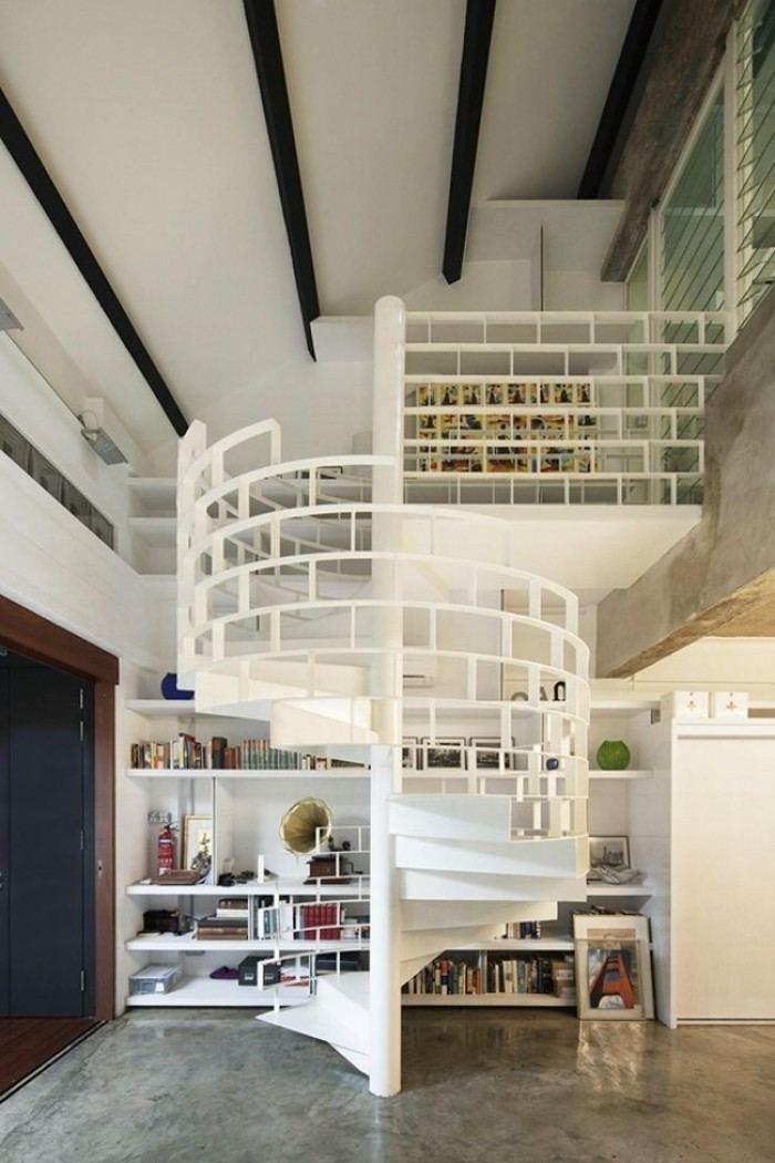 escaleras de madera aluminio cristal blanca preciosa ideas