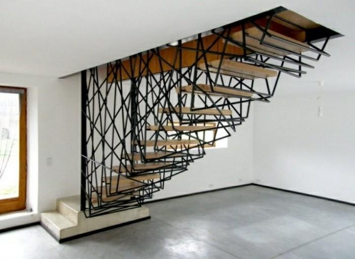 escaleras madera aluminio cristal casa acero negro ideas