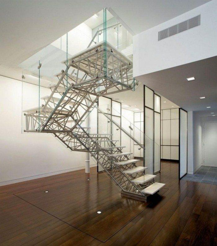 escaleras de madera aluminio cristal casa acero ideas