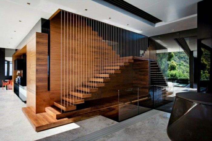 escaleras madera aluminio cristal casa alfombra gris ideas
