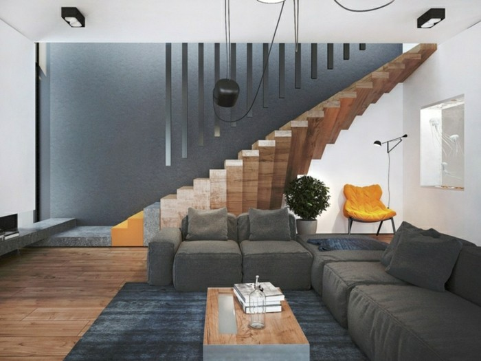 escaleras de madera aluminio cristal casa alfombra negra ideas
