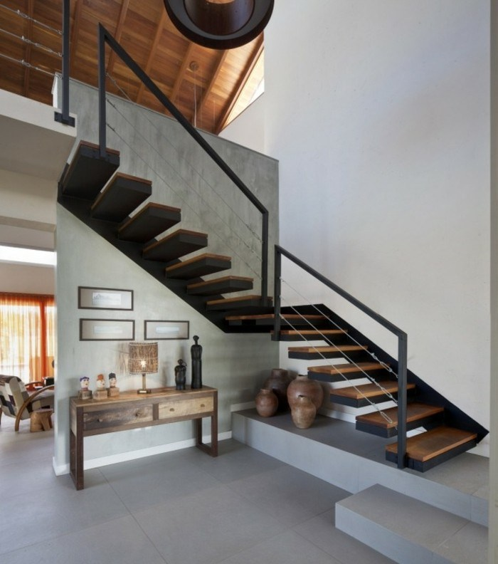 escaleras de madera aluminio cristal casa armario madera ideas