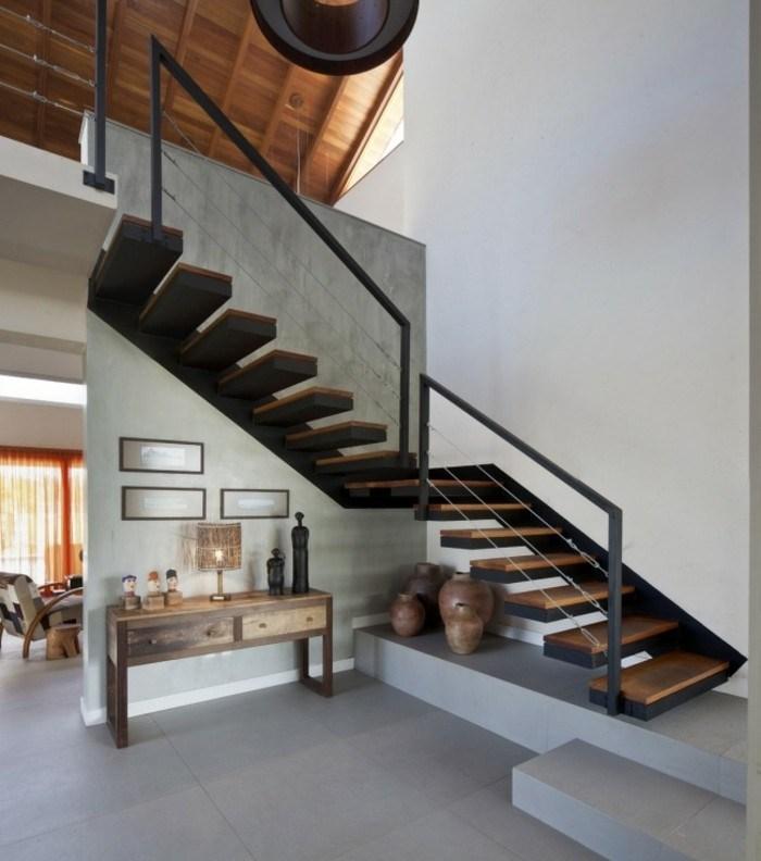 Escaleras de madera aluminio cristal 101 ideas for Gradas de madera para exteriores