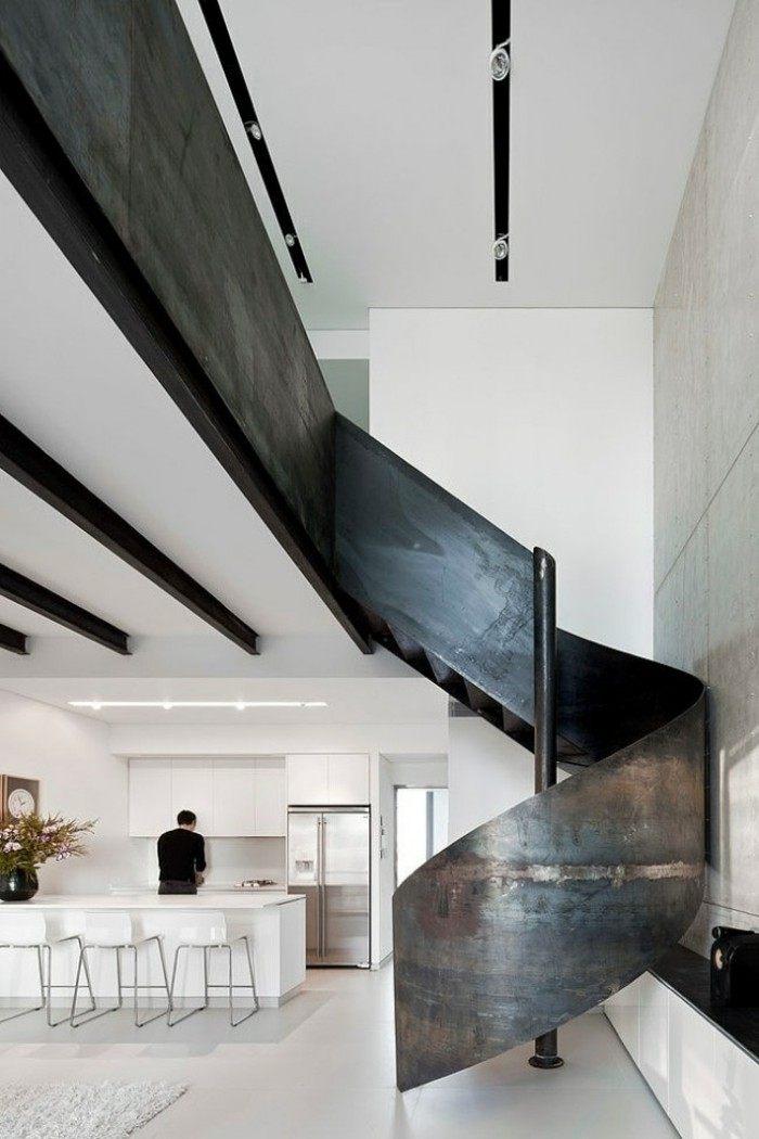 escaleras de madera aluminio cristal casa barandilla negra ideas