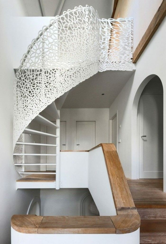 Escaleras de madera aluminio cristal 101 ideas - Barandillas de madera para interior ...