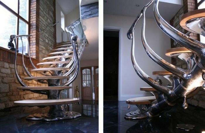 escaleras de madera aluminio cristal casa barandilla plata ideas