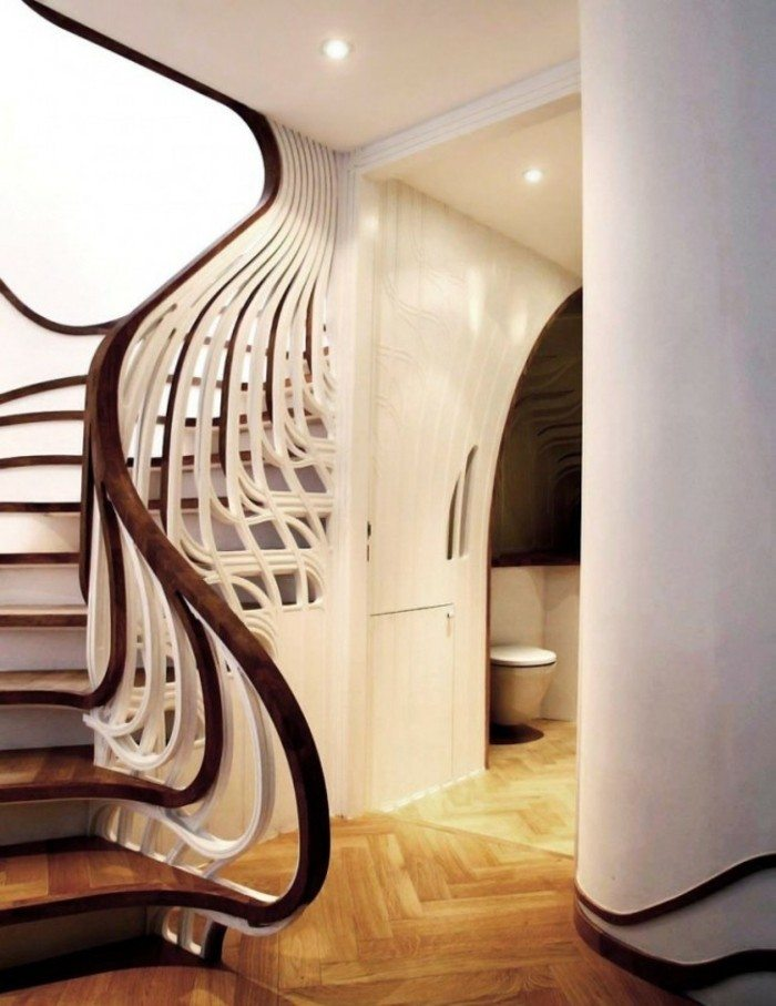 escaleras de madera aluminio cristal casa barrandilla blanca ideas