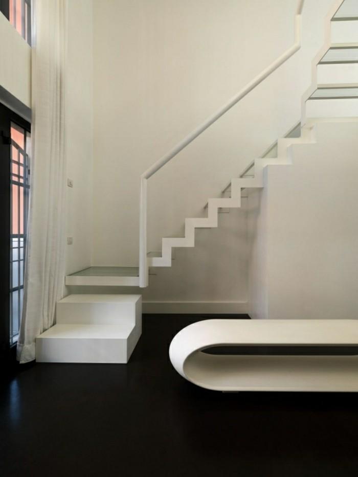 escaleras de madera aluminio cristal casa blancas bonitas ideas