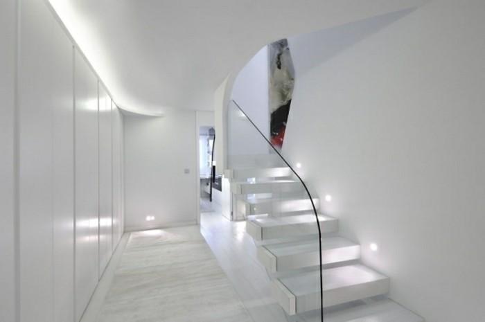 escaleras de madera aluminio cristal casa blancas iluminadas ideas
