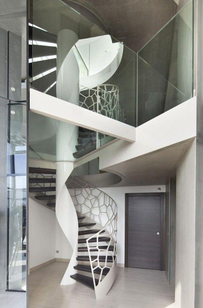 escaleras de madera aluminio cristal casa blanco entrada ideas