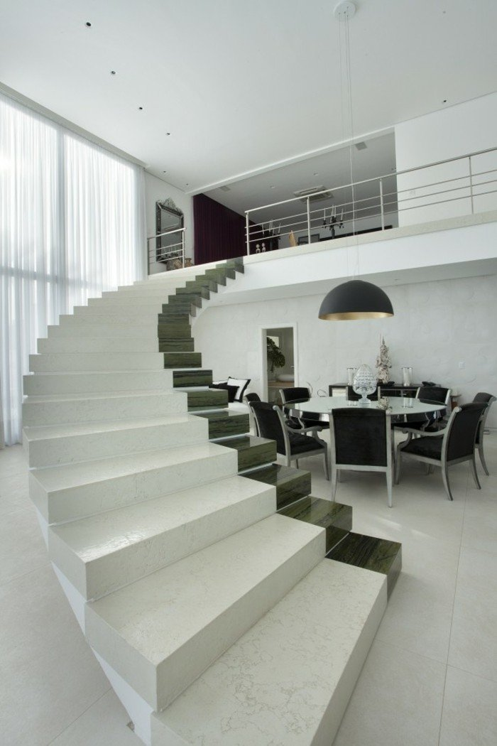 escaleras de madera aluminio cristal casa blanco negro ideas