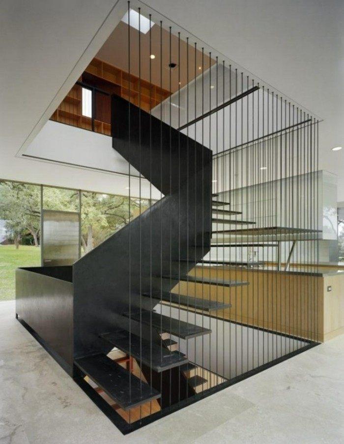 escaleras madera aluminio cristal casa caracol negro ideas