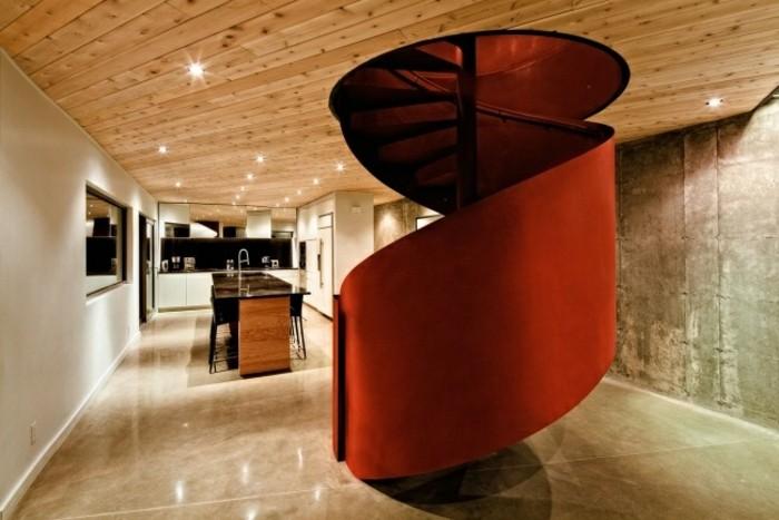 escaleras de madera aluminio cristal casa caracol rojo ideas