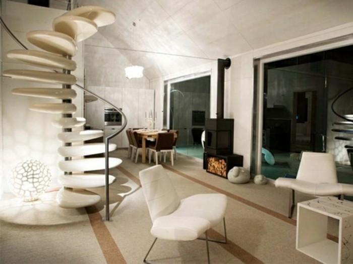 escaleras madera aluminio cristal casa chimenea ideas