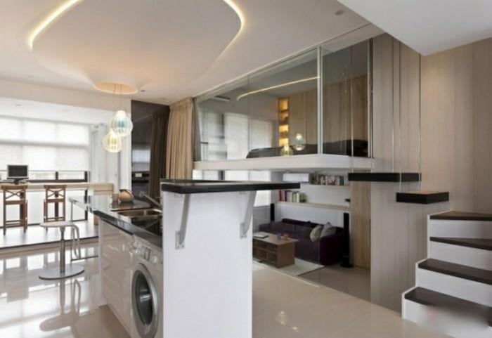 escaleras-madera-aluminio-cristal-casa-cocina-isla-pequena