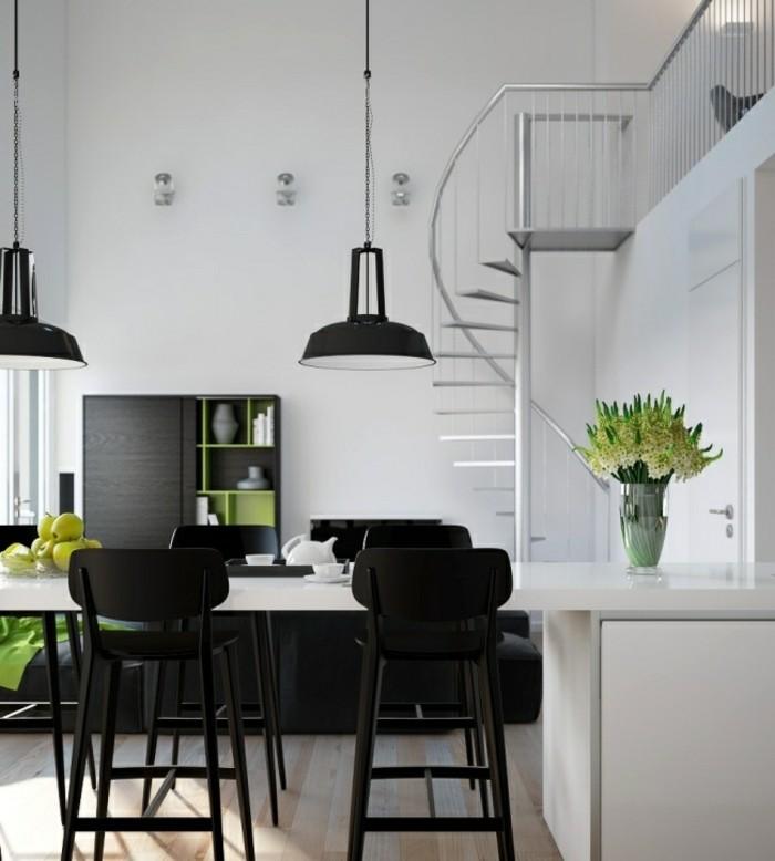 escaleras de madera aluminio cristal casa cocina ideas
