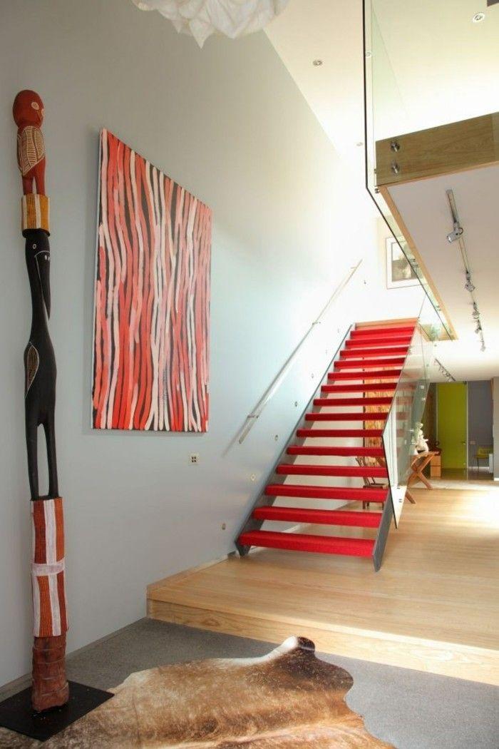 escaleras de madera aluminio cristal casa color rojo ideas