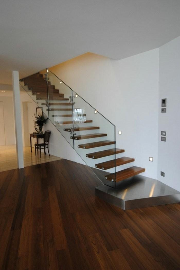 escaleras de madera aluminio cristal casa columna ideas