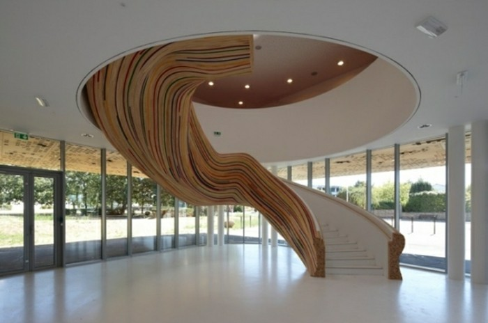 Escaleras de madera aluminio cristal 101 ideas - Modelos de escaleras de casas ...