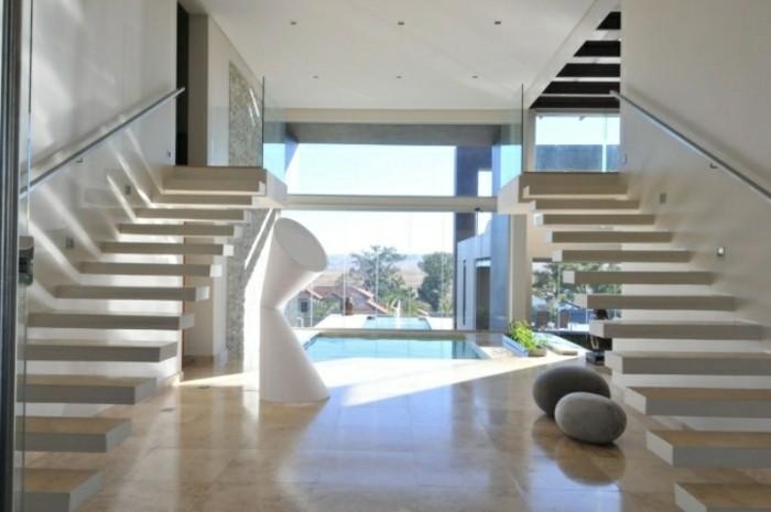 escaleras madera aluminio cristal casa dos idea