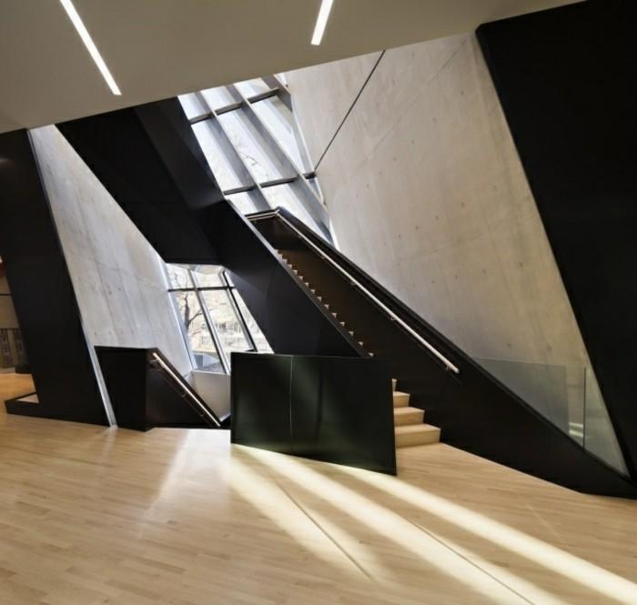 escaleras madera aluminio cristal casa hormigon negro ideas