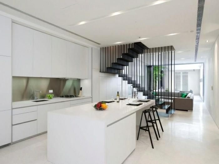 escaleras madera aluminio cristal casa isla cocina ideas