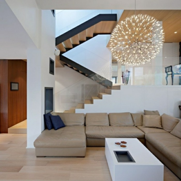 escaleras madera aluminio cristal casa lampara colgando ideas
