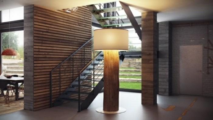Escaleras de madera aluminio cristal 101 ideas - Pasamanos de madera modernos ...
