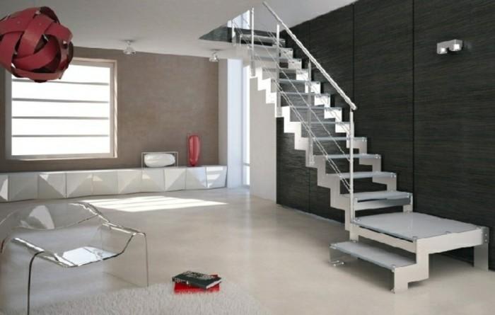 escaleras madera aluminio cristal casa lampara ideas