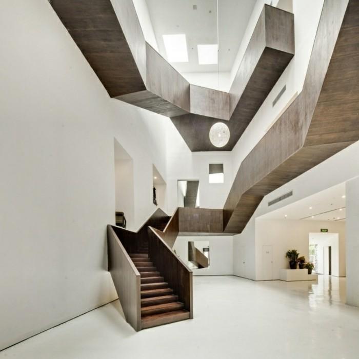 escaleras madera aluminio cristal casa lineas geometricas ideas