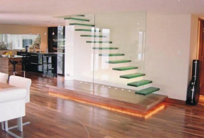 escaleras madera aluminio cristal casa mampara ideas