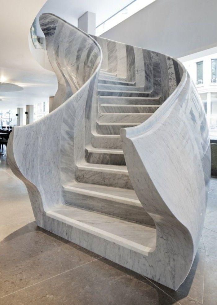 escaleras madera aluminio cristal casa marmol ideas