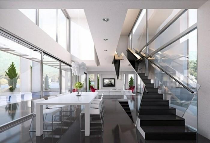 escaleras madera aluminio cristal casa mesa blanca ideas