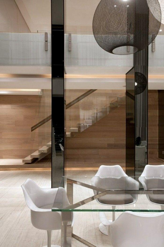 escaleras madera aluminio cristal casa mesa comedor ideas