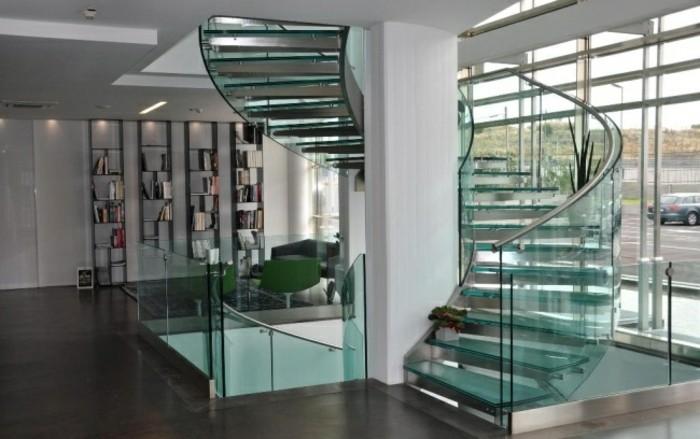 Escaleras de madera aluminio cristal 101 ideas - Pasamanos de cristal para escaleras ...