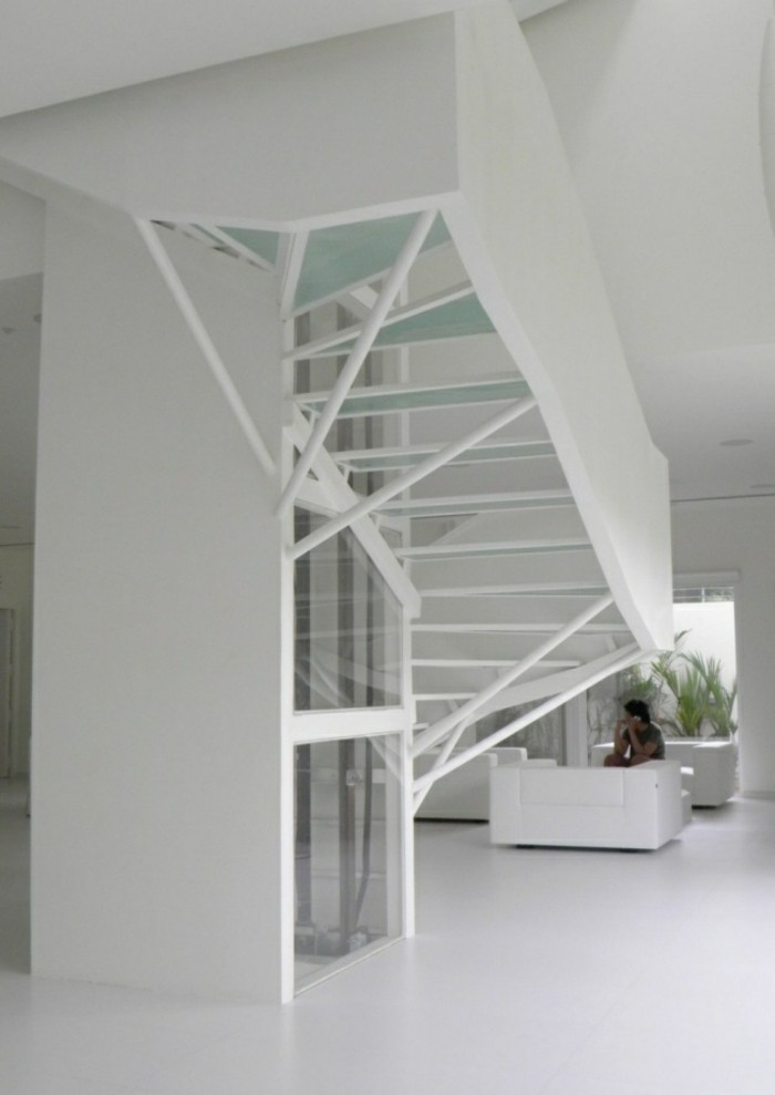 escaleras madera aluminio cristal casa minimalista ideas