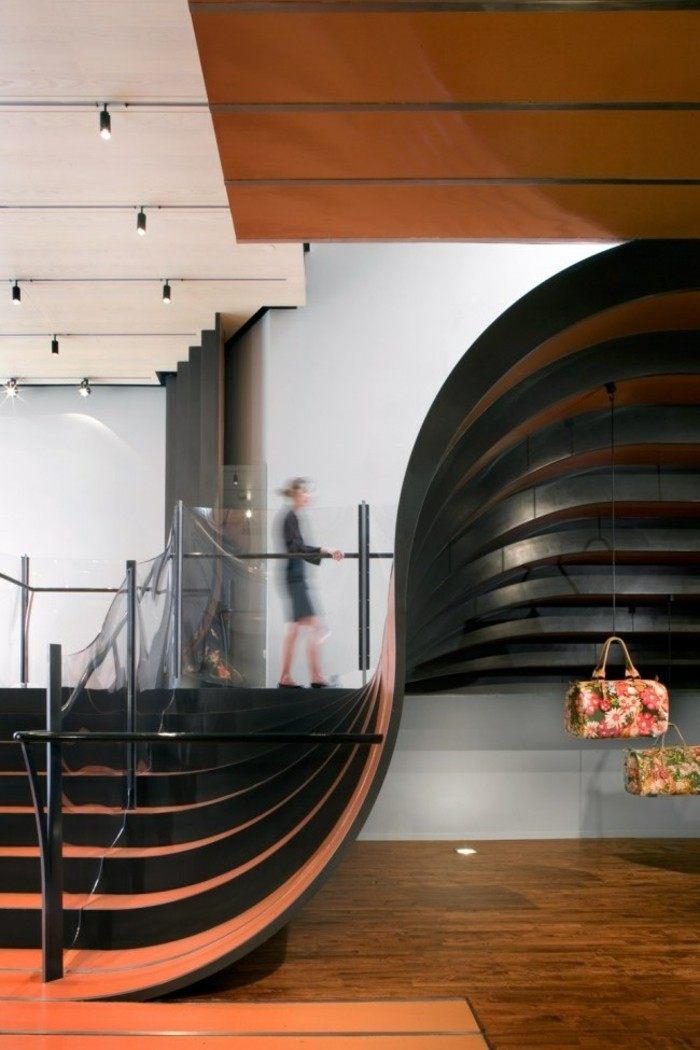 escaleras madera aluminio cristal casa naranja negro ideas