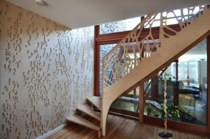 escaleras madera aluminio cristal casa pared agujeros ideas