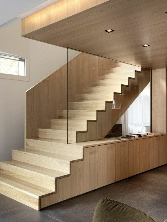 escaleras madera aluminio cristal casa pared cristal ideas