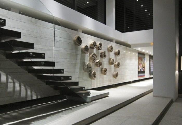 escaleras madera aluminio cristal casa pared decorada ideas