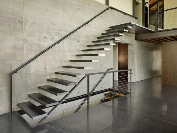 escaleras madera aluminio cristal casa pared hormigon ideas
