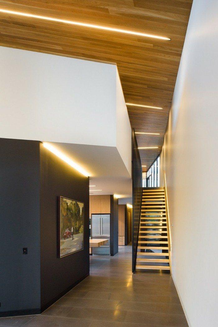 escaleras madera aluminio cristal casa pared negra ideas